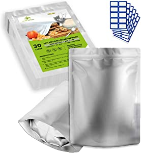 30 x 1 Gallon Mylar Bags for Food Storage - Extra Thick 7.4 Mil - 10