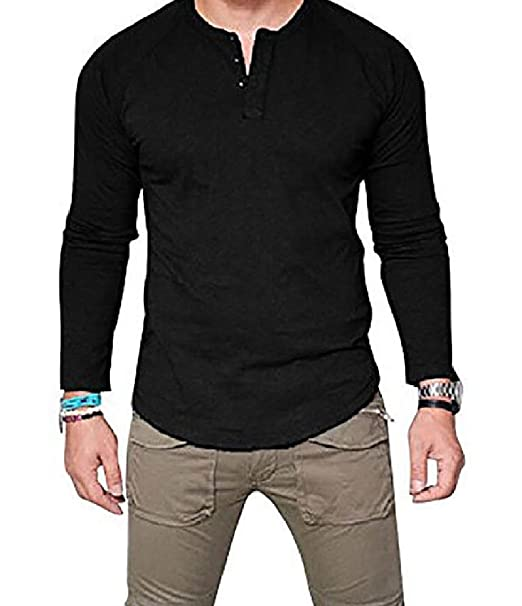 buy online to buy size 7 Mirror Mens Pure Color Plus Size Long Sleeve Modern Tunic ...