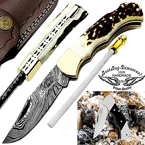 Stag Horn 6.5'' Beautiful Custom Handmade Damascus Steel Brass Bloster Back Lock Folding Pocket Knife 100% Prime Quality+Buffalo Horn Stainless Steel Mini Pocket Knive+ Sharpening Rod+ Leather Sheath