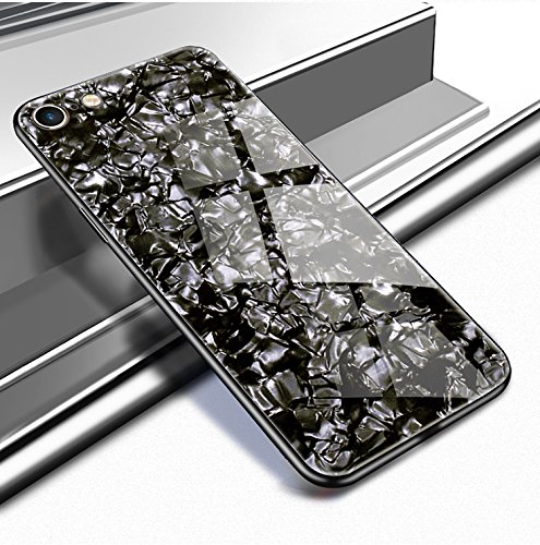 Yobby en Verre Arriere Coque iPhone 6 Plus, Coque iPhone 6S Plus Blanc Luxe Crystal Glitter Modè le Souple TPU Bumper Housse de Protection Brillante Ultra Fine Miroir Etui
