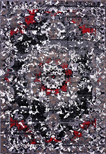 Ladole Rugs Everest Collection Grayton Classic Made in Europe Polypropylene Indoor Area Rug in Gray Red, 5x8(5'3