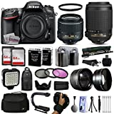 Nikon D7200 DSLR Digital Camera with 18-55mm VR II + 55-200mm VR Lens + 128GB Memory + 2 Batteries + Charger + LED Video Light + Backpack + Case + Filters + Auxiliary Lenses + More!