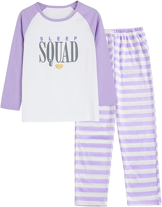 Summer Pajamas for Girls Stripe /& Glittering Heart PJS Pal Cute Jammies Set Big KidsSize 6-16