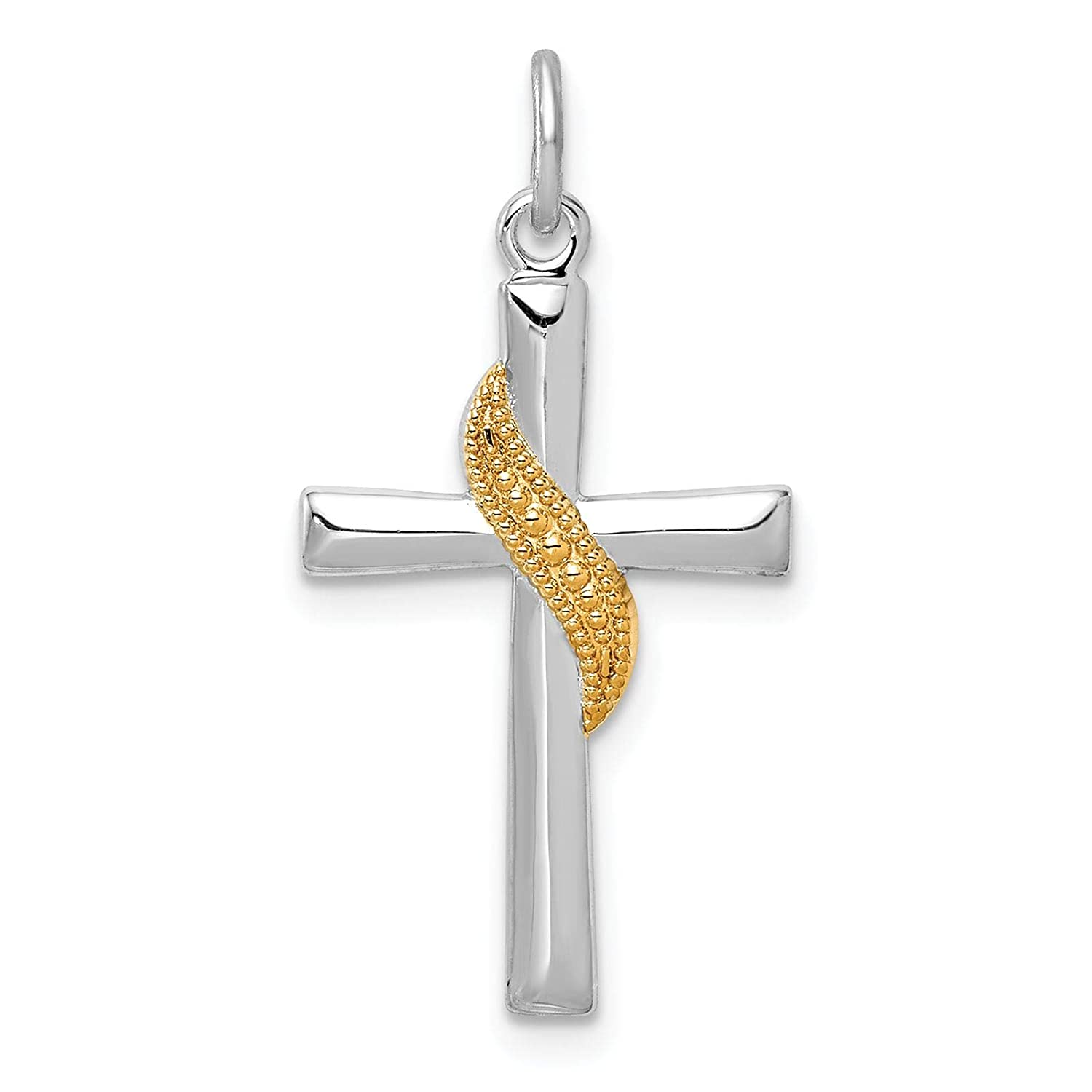 925 Sterling Silver Rhodium-plated /& Gold-tone Cross Charm Pendant