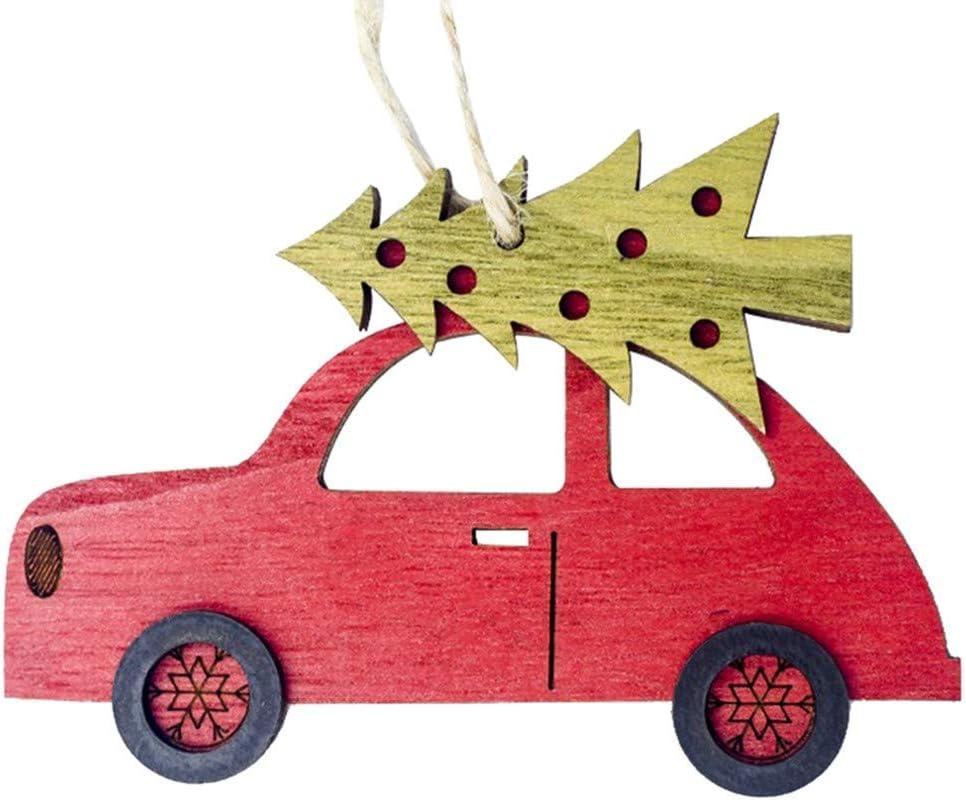 3 St/ück Weihnachten Holzanh/änger Set Hukz Auto Form Anh/änger H/ängende Ornamente Deko-h/änger Mini Versch/önerungen Christmas Hanging Ornaments f/ür Weihnachtsdeko Weihnachtsbaumschmuck