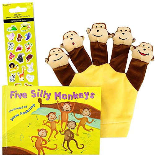 Five Silly Monkeys with Hand Puppet -- A Hand Puppet Board Book Baby Toddler (Includes Stickers) (Board Books For Infants)
