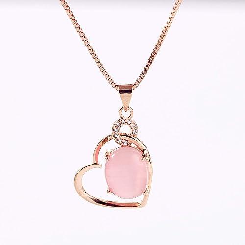 a5d7122d1d59 CHIFEI Hermoso Collar Cristal en Forma de Gato Corazón Gota de Agua con  Dije Piedra Natural