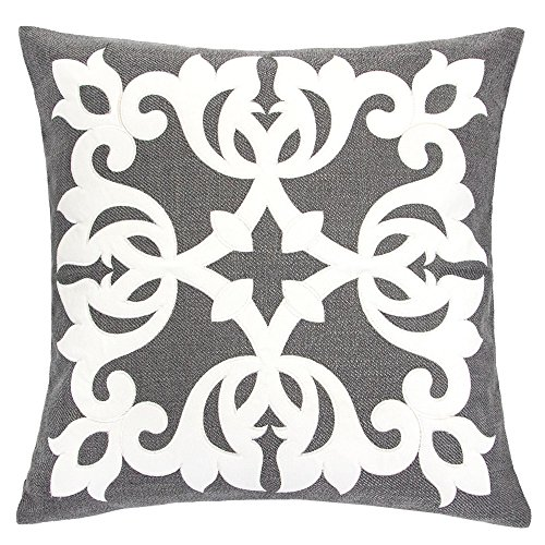 Homey Cozy Applique Throw Pillow Cover,Gray Burlap Linen Damask Vine Large Sofa Couch Pillow Sham,20x20 Cover Only