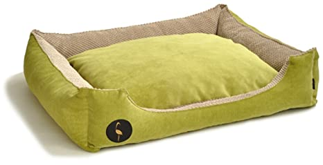 Lauren Diseño Cama para Perros CEZAR 70 cm x 60 cm Verde Acolchada/Beige |