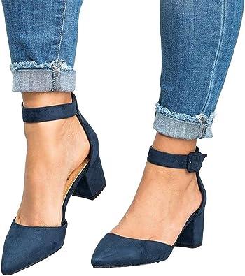 Womens Mid Block Heels Sandals Ankle Straps Buckle  Round Toe Pumps Court Shoes