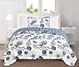 Great Bay Home 3 Piece Quilt Set with Shams. Soft All-Season Microfiber Bedspread Featuring Attractive Seascape Images. Machine Washable. The Catalina Collection Brand. (Twin, Navy)