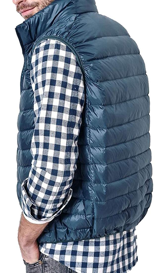 Beloved Mens Outdoor Stand Collar Down Vest Casual Padded Vest Coats Outwear
