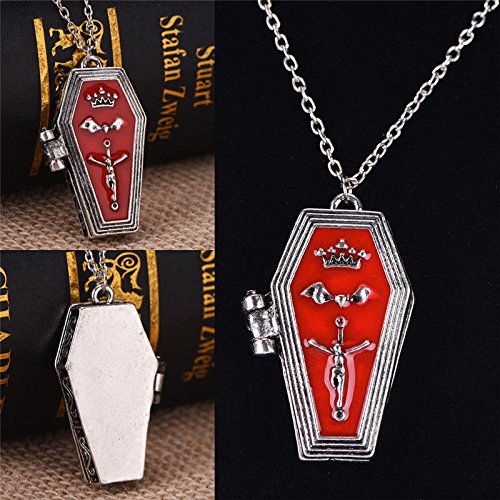 Cross Coffin - Meenanoom Halloween Gothic Vampire Bat Cross Coffin Alloy Pendant Necklace Retro Jewelry