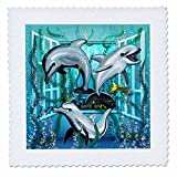 3dRose Dream Essence Designs-The Ocean - Three lively dolphins swim through an open window under the sea - 22x22 inch quilt square (qs_266090_9)
