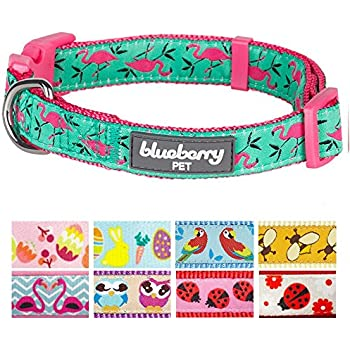"Blueberry Pet 9 Patterns Pink Flamingo on Light Emerald Dog Collar, Small, Neck 12""-16"", Adjustable Collars for Dogs"