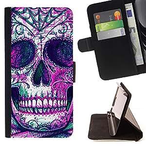 Momo Phone Case / Flip Funda de Cuero Case Cover - Cráneo Esqueleto tinta púrpura del tatuaje - Apple Iphone 6 PLUS 5.5
