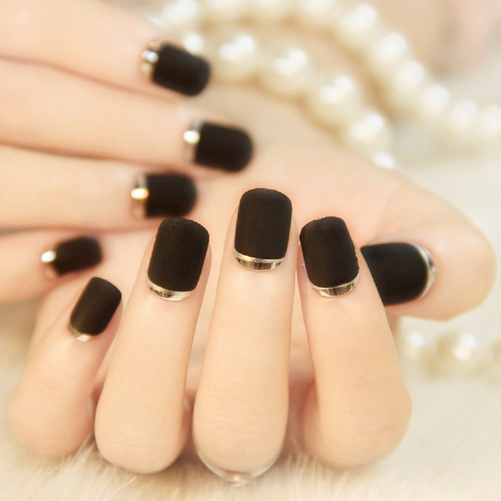 Amazon.com : Fake Nails False Nail Design Pretty Nail Designs Black ...