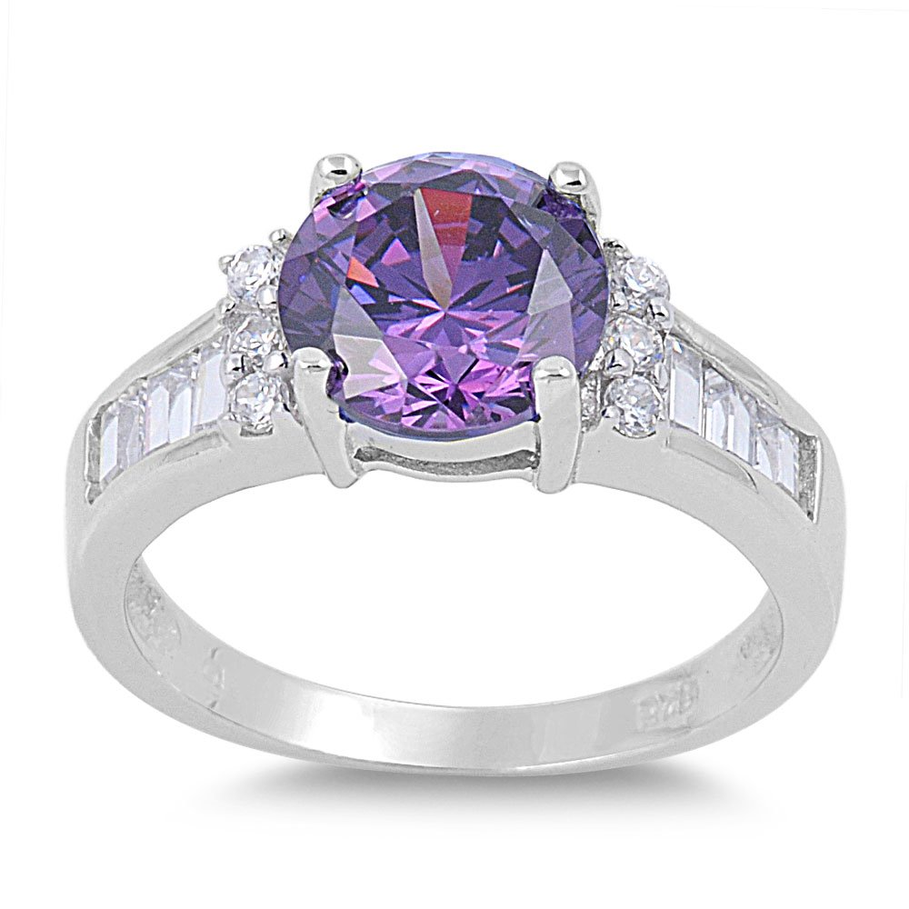 CloseoutWarehouse Oval Shaped Lavender Cubic Zirconia Ring Sterling Silver