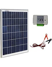 ECO-WORTHY 25W 12V IP65 Solar Panel Kit: 25W Off Grid Polycrystalline Solar Panel & Aluminum Battery Clips & 3A Charge Controller