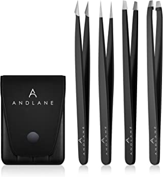 4-Pack Andlane Stainless Steel Precision Tweezers Set