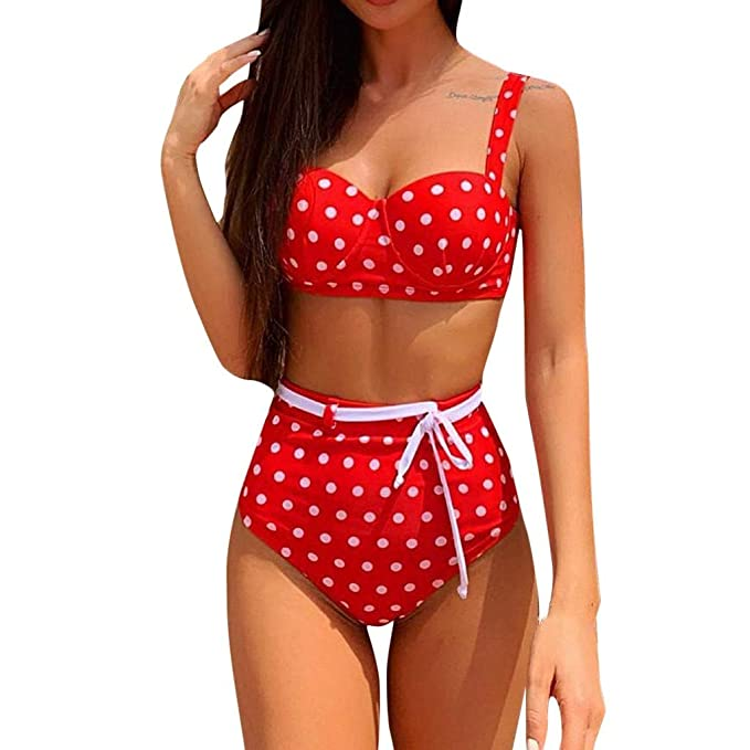 RISTHY Mujeres Bikini, Lunares Push Up Vintage Talle Alto ...