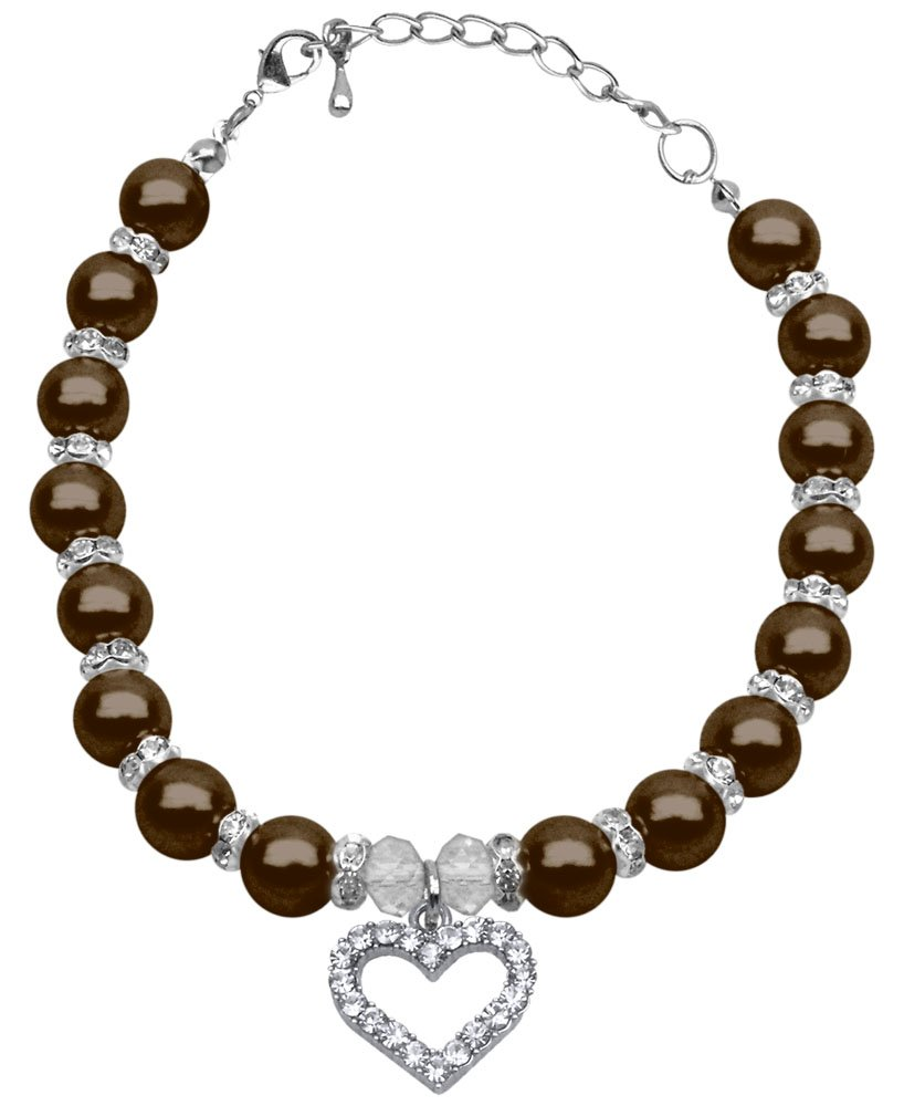 Mirage Pet Products 10 to 12-Inch Heart and Pearl Necklace, Large, Chocolate