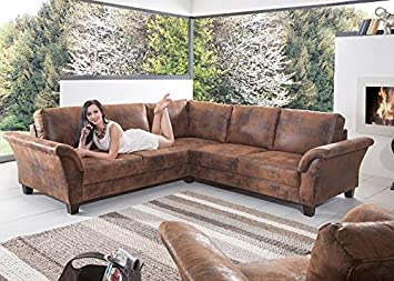 Eckcouch landhausstil  Sofa Contessa Landhausstil Ecksofa Braun Holz Stoff Textil: Amazon ...