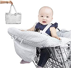 JJZXPJ Shopping Cart Covers for Baby,high Chair Cover 3-in-1 with Cell Phone Carrier and Safety Harness Seat Positioner Baby Grocery Cart Cover Universal Size