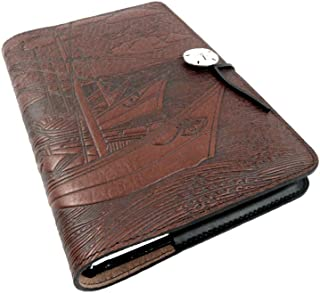 product image for Van Gogh Boats Embossed Leather Writing Journal, American Made, 6 x 9-inch + Refillable Hardbound Insert Book