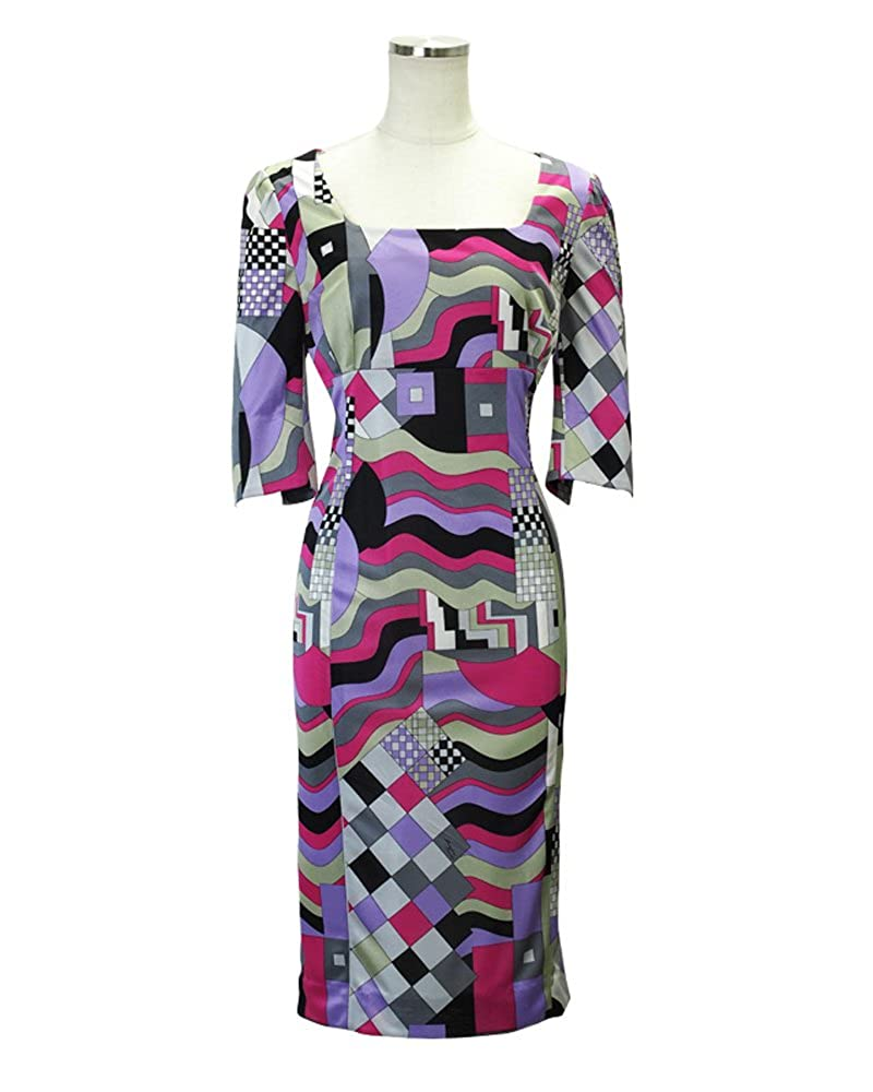 High Waist Dress with 3/4 Sleeve Pucci-style Fabric Made to Order in Japan at Amazon Womens Clothing store: