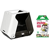 Kiipix Photo Ink Jet Black Mobile Compatible Instant Photo Printer with Fujifilm Instax Mini Starter Pack for Polaroid Pictures