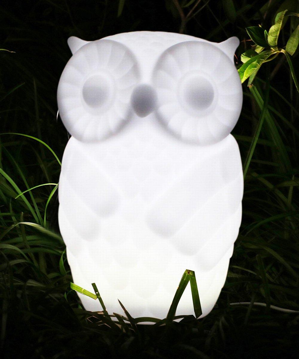 Lovingvs Owl Night Light, Cool White Battery Powered Porcelain Timer LED Table Lamp Desk lamp for Bedroom Decorative by Lovingvs (Image #1)