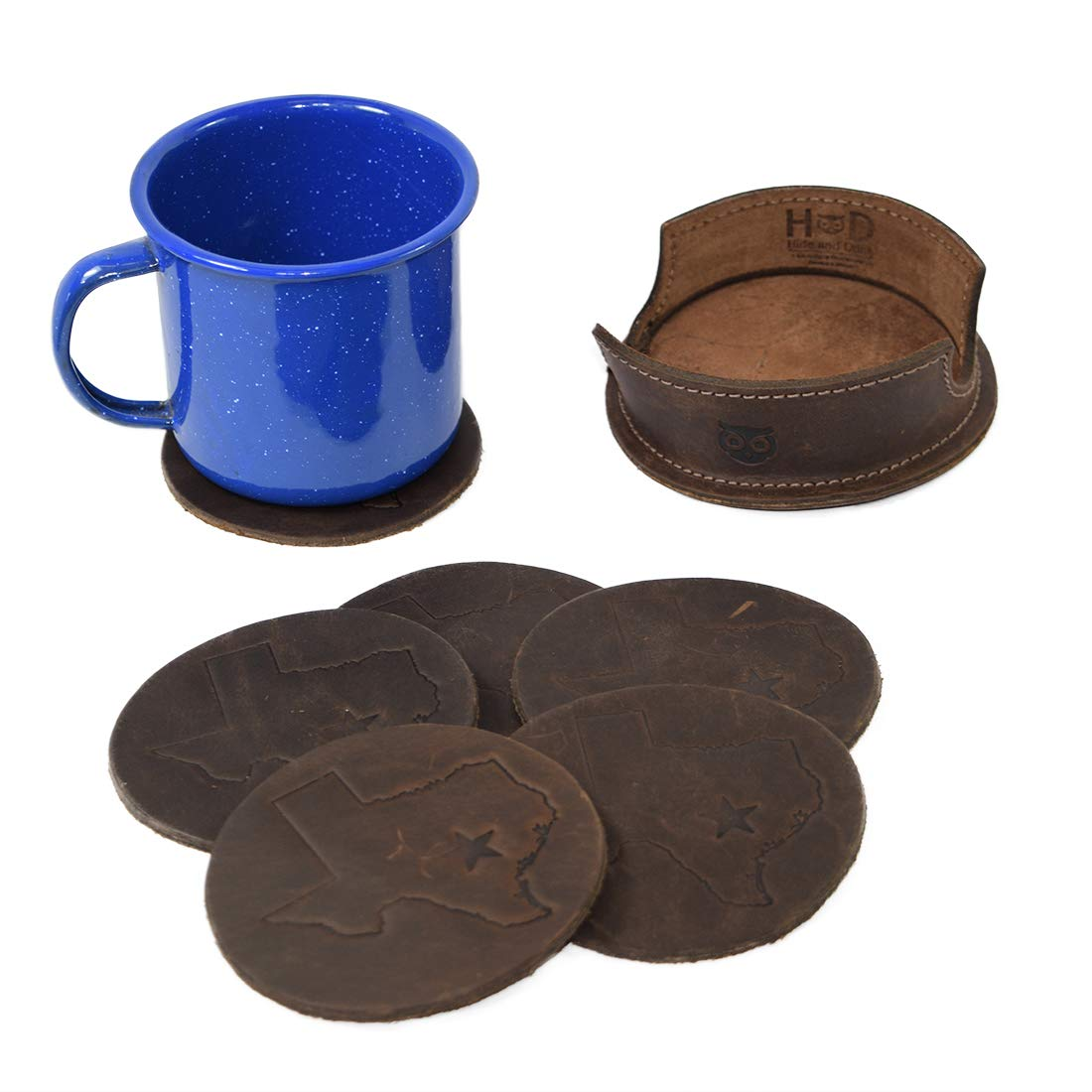 Handmade Includes 101 Year Warranty :: Bourbon Brown Hide /& Drink 6-Pack Durable Thick Leather Texas State//Lone Star Coasters without Stitching
