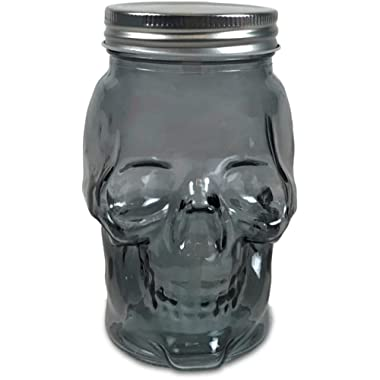 Circleware 07452 Skull Face Glass Mason Jars with Silver Lid, Set of 6 Heavy Base Beverage Drinking Cups Glassware for Water, Beer, Juice Bar Novelty Halloween Decorations Gift 16 oz. Smoke