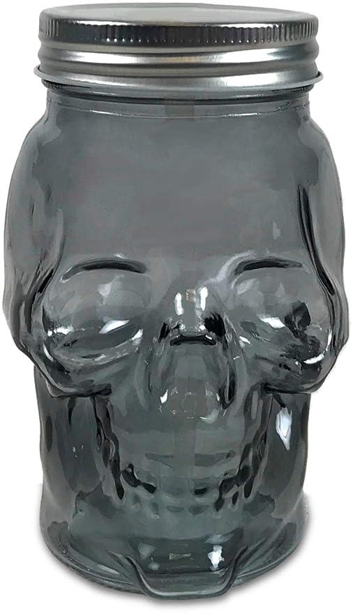 2e91f2a0e852 Circleware 07452 Skull Face Glass Mason Jars with Silver Lid