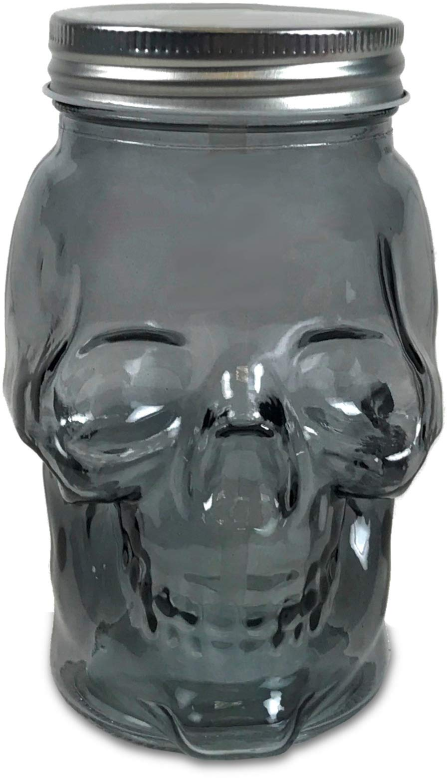 Circleware 07452 Skull Face Beer Glass Mason Jar with Silver Lid, Set of 6, Heavy Base Funny Glassware Beverage Drinking Cup for Water, Wine and Bar Decor Novelty Gifts, 16 oz, 6pc-Smoke
