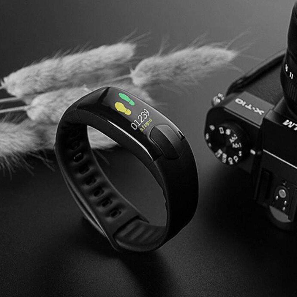 Fitness Tracker Monitor de frecuencia cardíaca Tracker pulsera inteligente actividad Tracker podómetro con Monitor de sueño reloj inteligente Bluetooth para ...