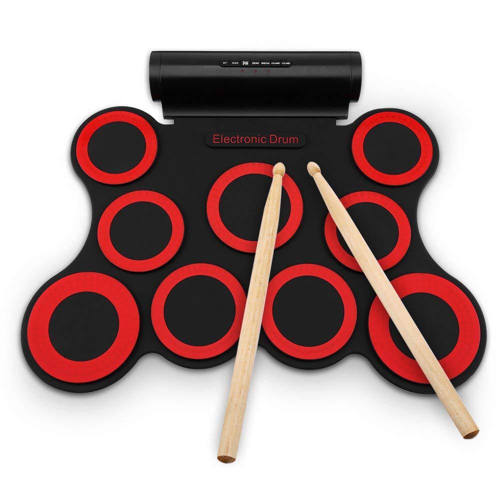 新しいスタイル デジタル電気ドラムキット-9 パッドポータブル電子ロールアップドラム折り畳み式練習器具内蔵スピーカー & & & フットペダル フットペダル & ドラムスティック子供のための、初心者、大人 B07P2LC9RK, ジェイエムイーアイ:4fff37d2 --- a0267596.xsph.ru