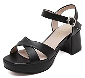 CHFSO Women's Fashion Solid Cross Strap Open Toe Buckle Ankle Strap Mid Chunky Heel Platform Sandals Black 7 B(M) US