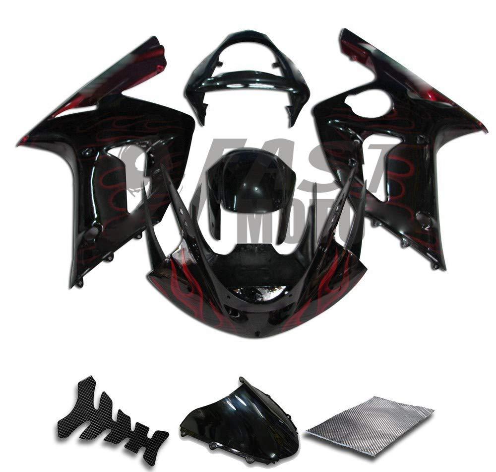 9FastMoto kawasaki カワサキ 2003 2004 ZX6R ZX-6R Ninja 636 03 04 ZX6R Ninja 636 用フェアリング オートバイフェアリングキット ABS 射出成形セット スポーツバイク カウル パネル (ブラック & スカーレッド) K0107   B07RR8L4TQ