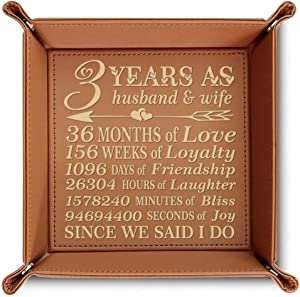 Bella Busta- 3 years as husband and wife-3 years Anniversary gift-Engraved Leather Tray (Rawhide)