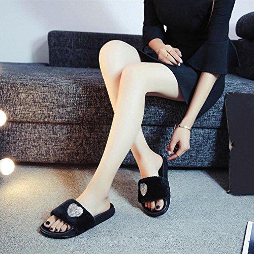 Noir Été Forme Unie Couleur Coeur Bovake en de Sequin Plage Sandales Femme Chaussures Pantoufles de wfqxqER46