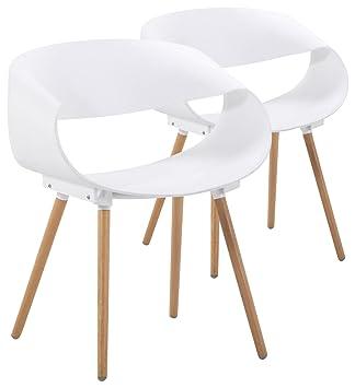 Menzzo Lot De 2 Chaises Scandinaves Design Zenata Blanc Polypropylene 64x75 5x49 Cm