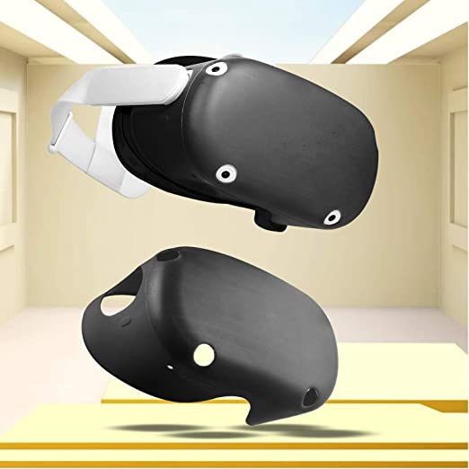 Seltureone Silicone VR Shell Compatible for Oculus Quest 2 VR Headset Protection Cover Shock-Resistant Scratch-Proof Case for Q2 Virtual Reality Front Headset Face Black