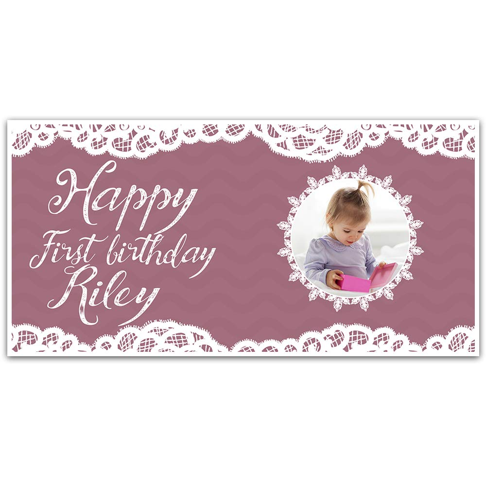 First Birthday Lace Girl Banner Party Backdrop Custom Photo