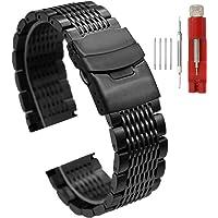 Argento nero Premium stainless steel Watch Band mesh orologio da polso per unisex, serrature a doppia chiusura di distribuzione orologio braccialetto ricambio metal Band 20mm 22mm 24mm