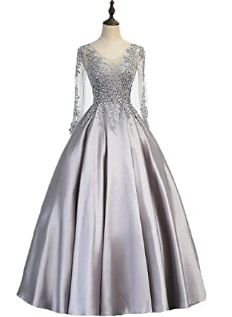 AngelCity Brides Womens Long Ball Gown Prom Dresses Appliques Formal Evening Dresses - Silver -