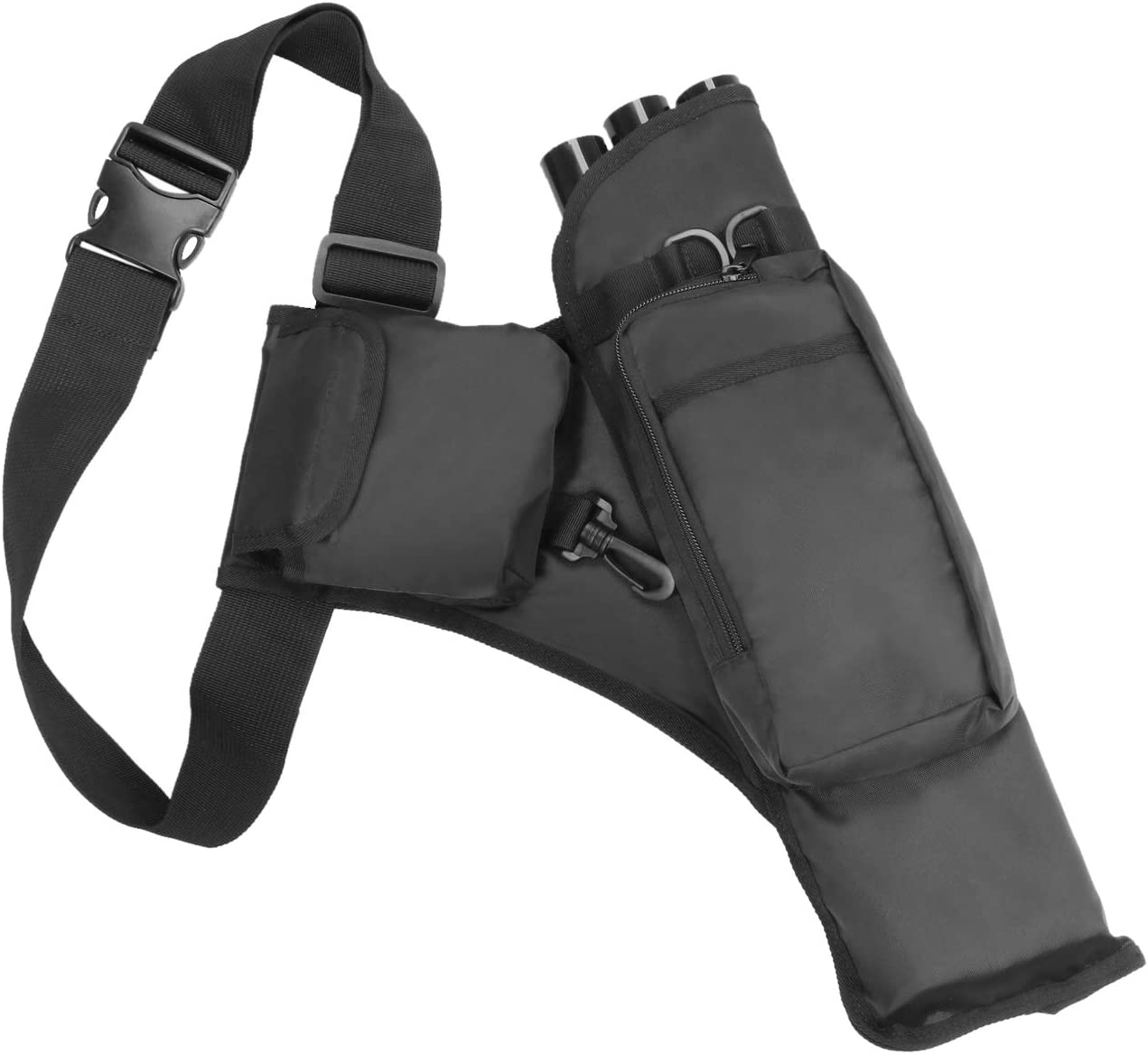 KEESIN Bolsa de Flecha de Caza al Aire Libre 3 Tubos Bow Archery Titular de Carcaj con Bolsillos y Correa de Hombro Ajustable