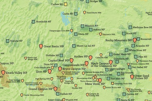 Usa National Parks Monuments Forests Map 24x36 Poster: National Parks And Monuments Map At Slyspyder.com