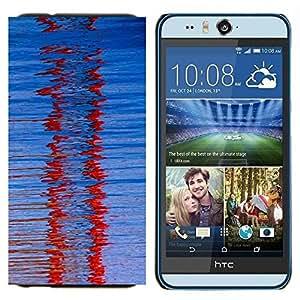 TECHCASE---Cubierta de la caja de protección para la piel dura ** HTC Desire Eye ( M910x ) ** --Cristal Red Winter Refracción Modelo azul